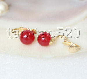 AAA natural 10mm round Red jade beads Earrings clip k764