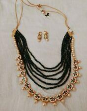 Green Kundan Meenakari Long Necklace Set including Kundan Earrings Long Mala