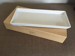 Crate & Barrel Rectangular Pure White Porcelain Serving Tray