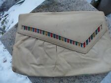 Vintage 1970s Valerie Barad Rainbow White Hand Bag Purse Faux Leather Retro