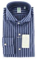 $375 Finamore Napoli Blue Striped Shirt - Extra Slim - (FNTYO122491SERZ)