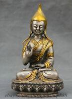 """5,4 """"Vieux Tibet en argent doré statue de Maître Stat Tsongkhapa Sculpture"""