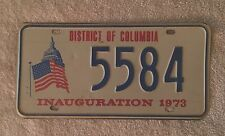 1973  WASHINGTON DC  NIXON PRESIDENTIAL  INAUGURAL  LICENSE PLATE