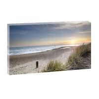 Sonnenuntergang Nordsee- Bild Strand Meer Poster Leinwand XXL 135 cm*80 cm 500