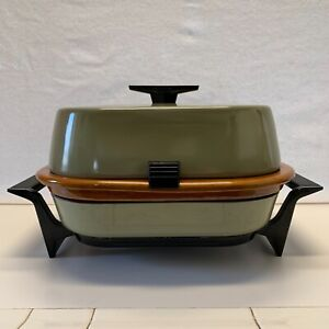 Vintage 1970's Sunbeam Crocker Frypan Electric Skillet Crock Insert Avocado