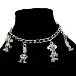 Vintage Walt Disney Productions Charm Bracelet Mickey Minnie Silver Tone Signed