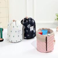 Barrel Cosmetic Bag Travel Drawstring Drum Makeup Toiletry Organizer Storage