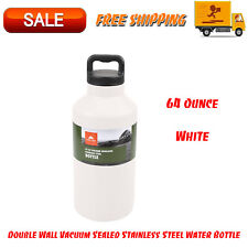 64 Oz Double Wall Vacuum Sealed Stainless Steel Water Bottle, Drinkware, White