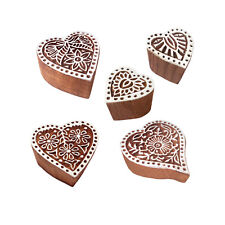 Indian Motif Heart and Floral Wood Stamps for Printing (Set of 5)