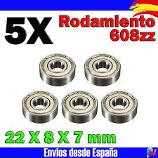 5x Rodamiento 608ZZ 22X8X7mm en acero para impresoras 3D Tipo RepRap Prusa