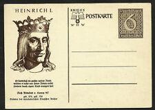 1940 ARYAN HERITAGE KING HEINRICH I NAZI GERMANY HISTORY SWASTIKA ON WHW CARD