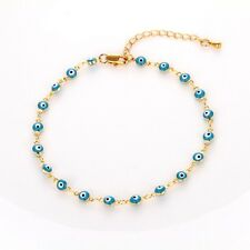 "Women's Eye Charm Bracelet Chain 18K Yellow Gold Filled 8"" Link Fashion Jewelry"