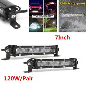 1 Pair 7'' White Flood Beam Slim LED Light Bar 120W 12000LM For Car Off-road