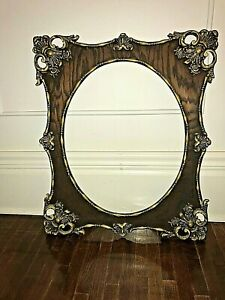 Antique Elaborate Ornate Gesso Brown Gold Wood Oval Picture Frame Holds 16 x 20
