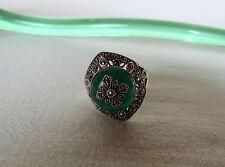 Damen Ring 925 Silber mit Jade & Markasiten Sterlingsilber Ø 18-19 mm filigran