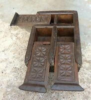 Original Old Primitive Hand Carved 6 Compartments Spice Keeping Wooden Box