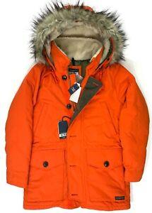 Abercrombie & Fitch Ultra Parka Jacket Fur Hood Orange Medium