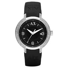 NEW ARMANI EXCHANGE BLACK OUT RUBBER,SILICONE BAND, DIAMOND BEZEL WATCH AX5060