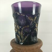 Cambridge Glass Near Cut Amethyst Inverted Strawberry Pattern Gold Gild Tumbler