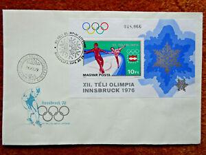 8473) Ungarn: FDC Schmuckumschlag Olympia Winterspiele Innsbruck 1976
