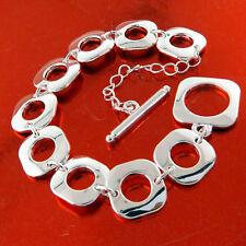 Bracelet Bangle Real 925 Sterling Silver S/F Solid Ladies Modern Tbar Design