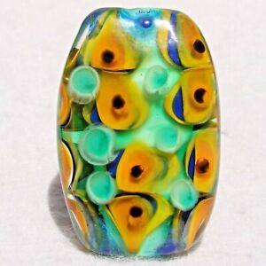 SANTA CRUZ Handmade Art Glass Focal Bead Flaming Fools Lampwork Art Glass SRA