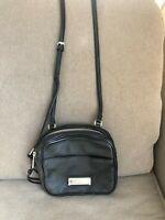 Calvin Klein Women's Handbag Purse Black Pebbled Leather Double Zip Crossbody