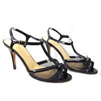 Kate spade Women's black patent leather mesh t strap heel 10 B
