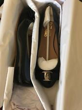 SALVATORE FERRAGAMO WOMEN VARINA LEATHER BALLET FLATS, OXFORD BLUE SZ 6.5 C NIB