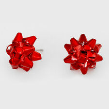 """Christmas Earrings Gift Bow Ribbon Metal 5/8"""" Stud Holiday Jewelry RED Party"""