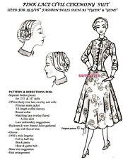 GENE/ TYLER / BARBIE dolls GRACE KELLY PINK Suit CIVIL Marriage Ceremony PATTERN