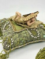 Rare Vintage Small French Decorative Pillow Cherub Angel Lying On Pillow.