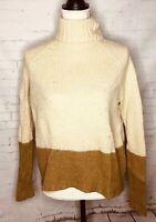 Vince Women's Wool Silk Cashmere Pullover Sweater Medium Brown Beige Turtleneck