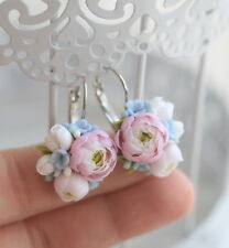 Flower EARRINGS HANDCRAFTED Fashion polymer clay pretty Bridal Wedding HANDMADE