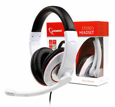 White Headset Over-Ear Stereo Headphones with Microphone Mic For PC Computer