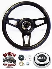 """1976-1995 Cherokee Wagoneer steering wheel JEEP 13 3/4"""" BLACK 3 SPOKE"""