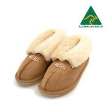 UGG Slippers with Fur Colla - Made in Australia - Genuine Merino Sheepskin - Tan