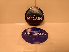 John McCain 2008 Campaign Political Blue Button With Free Sticker       NEW mc18