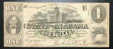 """1863 $1 Us """"Alabama"""" Currency! Civil War Days! Choice Fine! Old Us Currency!"""