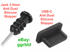 2x Staubschutz Stöpsel USB-C Kopfhörer Silikon Schwarz für LG G6 Huawei P9 P10