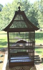 "Vintage Hand Crafted Bamboo Wood~Square Pagoda Style Bird Cage 24"" Tall"