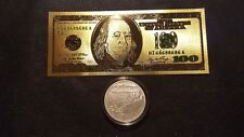 1.OZ.999 SILVER  COIN BOSTON TEA PARTY AND AMERICAN HEROES + GOLD foil $100 bill