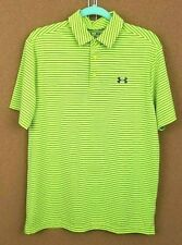 Nwt Men's Medium Under Armour Playoff Golf Polo Shirt Yellow Striped 1253479 $65
