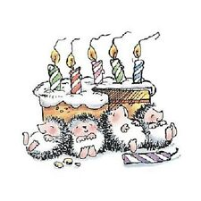 PENNY BLACK RUBBER STAMPS PARTY POOPED HEDGEHOG NEW wood STAMP