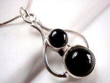 Black Onyx Pendant 925 Sterling Silver Round Corona Sun Jewelry