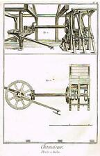 Diderot Enclyclopedie  CHAMOISEUR, MOULIN A FOULON  PLATE IV   Engraving 1751-72