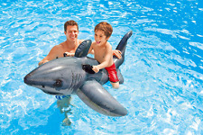 Kids Children Blow up Inflatable White Shark Ride On Beach Toys Lilo Swim Pool