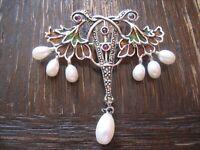 prächtige 925er Silber Emaille Brosche im Jugendstil Blüten Perlen enamel Brooch