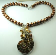 Statement Ammonite Necklace with Bronze Pearls & Crystals Handcrafted Jewelry