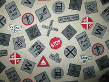 TRAINS SIGNS MODEL TRAIN LOCOMOTIVE RX CREAM COTTON FABRIC BTHY